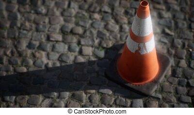 trafic, blanc, rayé, cône, orange