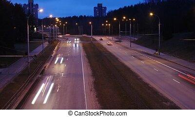 trafic, city., time-lapse., avenue