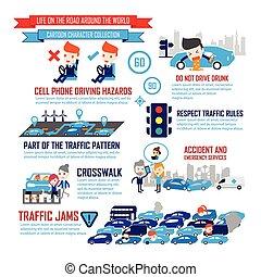 trafic, dessin animé, infographic, caractères, ville