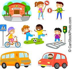 trafic, ensemble, sécurité, dessin animé, route