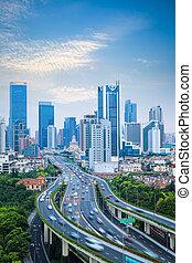 trafic, fond, moderne, ville