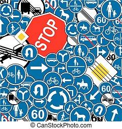 trafic, fond, signes