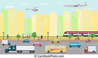 trafic, gens., taxi., vecteur, helicopter., urbain, avion, route, illustration., rue ville, transport, camions, autobus, transport, voitures, train, concept, air