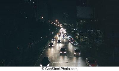 trafic, illumination, nuit, ville, autoroute, couler