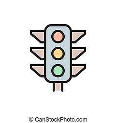 trafic, ligne fixe, lumière, vecteur, signal, couleur, lumière, icon.