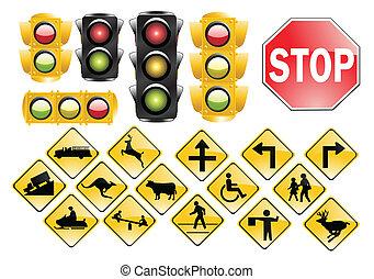 trafic, lumières, signes