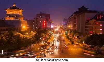 trafic Of Xi'an At Night,China. - trafic Of Xi'an At...