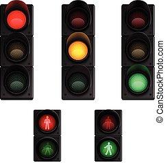 trafic, pictograms, set, luci, realistico