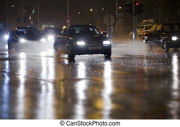 trafic, pluvieux, dense, jour