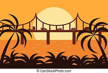 trafic, pont, silhouette, lumière soleil