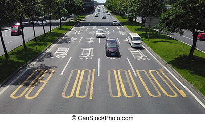 trafic, porcelaine, chengdu, vitesse, autoroute, élevé