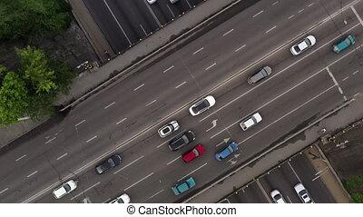 trafic, prise vue., multi-lane, routes, spirale, city., ...