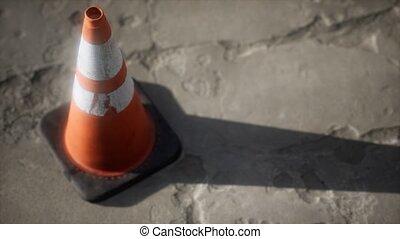 trafic, rayé, orange, blanc, cône