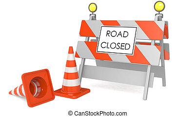 trafic route, cônes, signe fermé