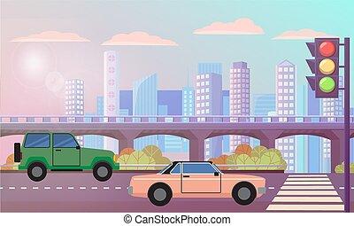 trafic, route, lumières, cityscape, rue, autoroute