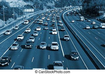 trafic, sur, les, hollywood, 101, freeway., los angeles,...