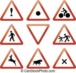 trafic, vecteur, ensemble, signes