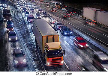 trafic, ville, nuit, autoroute, stockholm
