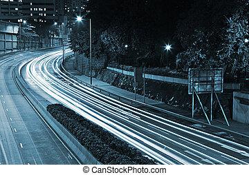 trafic, ville, par, nuit