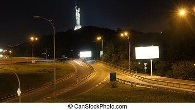 trafic, ville, timelapse, moderne, nuit