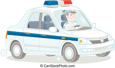 trafic voiture, police, inspecteur