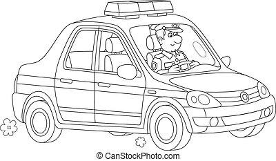 trafic voiture, police, policier