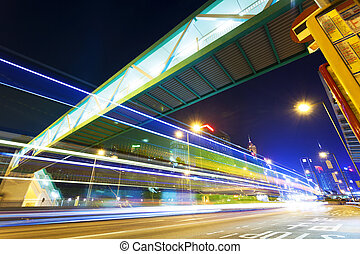 trafik, blur vinkar, spår, in, nymodig, stadsstreet, om...