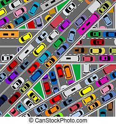 trafik, forstoppelse, på, veje