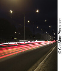 trafik, in, rörelse