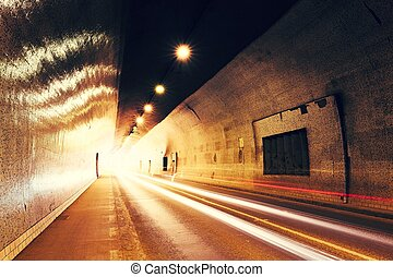 trafik, in, urban, tunnel