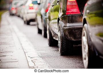 trafik jam, ind, oversvømm, hovedkanalen, anledningen, regn