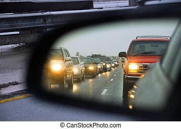 trafik jam, spejl