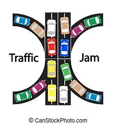 trafik jam, symbol, begreb, ikon