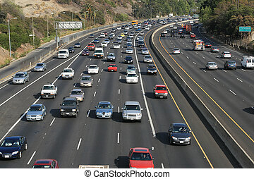 trafik, på, den, hollywood, 101, freeway., los angeles,...