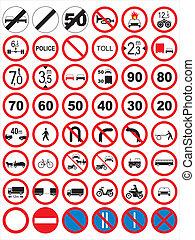 trafik, signs:, forbyde, og, restric