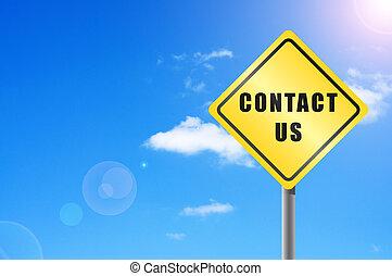 trafik underskriv, kontakt os, himmel, baggrund.