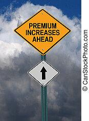 trafikmärke, ökar, premie, framåt