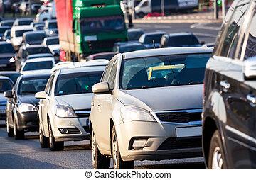 trafikstockning, på, den, motorväg