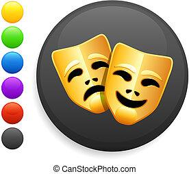 tragédia, e, comédia mascara, ícone, ligado, redondo, internet, botão