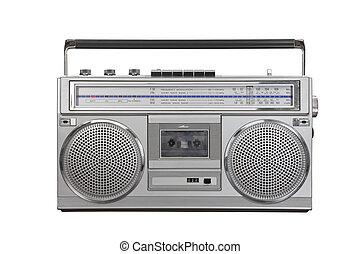 tragbar, blaster, weinlese, kassette, radio, getto
