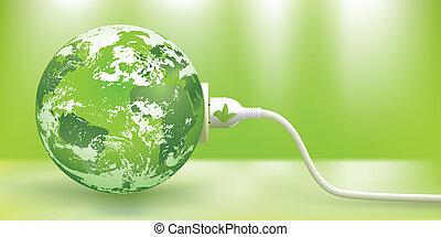tragbar, energie, begriff, grün, vektor