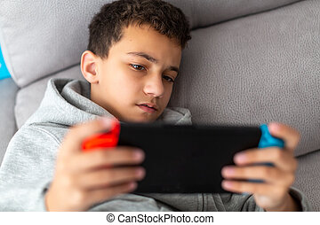 tragbar, junge, spiele trösten, spiele, video