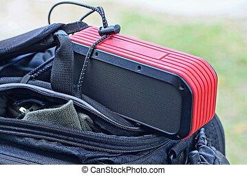 tragbar, lies, tasche, schwarz, sprecher, rgeöffnete, rotes