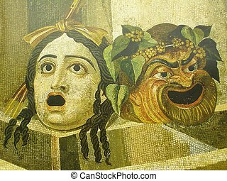 tragedy and comedy theatre mask from a Roman mosaic