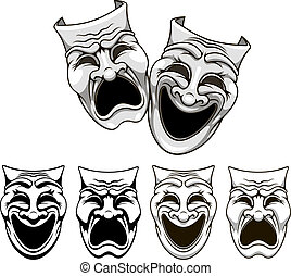 Tragedy and comedy theater masks set in cartoon style