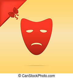 Tragedy theatrical masks. Cristmas design red icon on gold background.