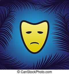 Tragedy theatrical masks. Vector. Golden icon with black contour