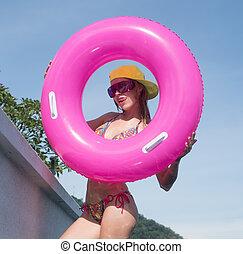 tragen, bikini, frau, junger, hübsch