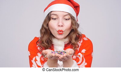 tragen, blasen, weg, junger, santa, frau, konfetti, hut