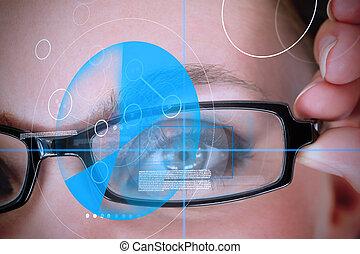 tragen, blaues, frau, identifikation, technologie, brille